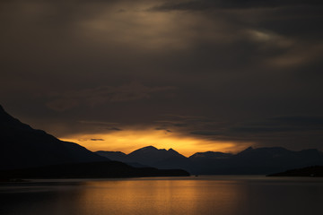 Sunset over a fijord, Norway