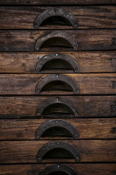 Drawers of a vintage wooden chest