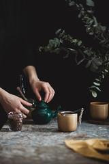 Woman is making a tea