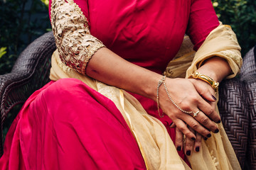 Indian woman's hand with jewelery