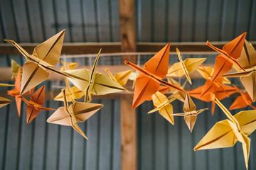 Origami cranes hanging