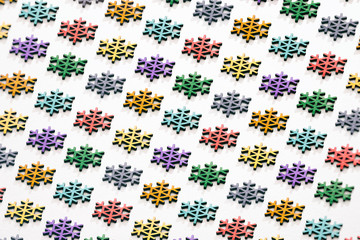 Pattern Of Colorful Wooden Snowflakes