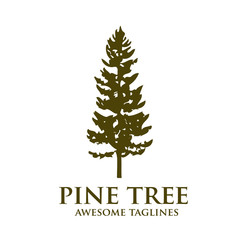 pine Tree outdoor travel green silhouette forest logo , natural pine tree badge abstract stem drawing vector illustration. creative pine tree silhouette logo vector