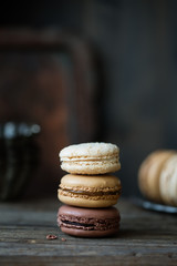 Chocolate, salted caramel and coconut macarons