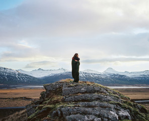Person in plaid on Icelandic view