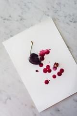 watercolour artwork using cherry juice
