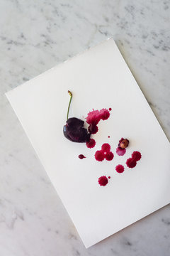 watercolour artwork using cherry juice