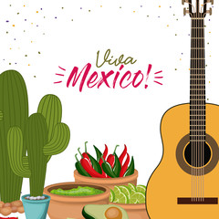 viva mexico colorful poster with guitar and cactus plant and mexican foods chili guacamole avocado vector illustration