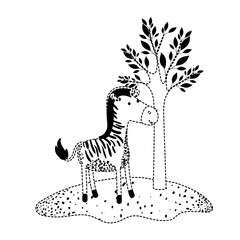 zebra cartoon next to the tree in black dotted silhouette vector illustration