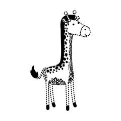 giraffe cartoon in black dotted silhouette vector illustration
