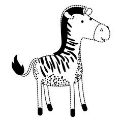 zebra cartoon in black dotted silhouette vector illustration