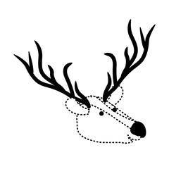 deer cartoon head in black dotted silhouette vector illustration