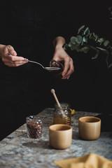 Warm tea with rum