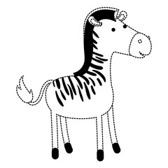 zebra cartoon in black dotted contour vector illustration
