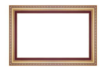 The antique glod frame on white background