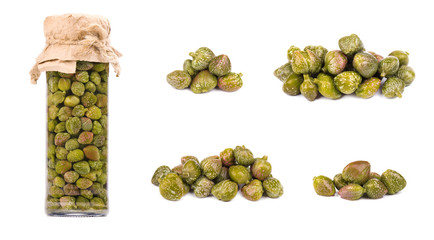 Collections of capers isolated on white background. Pickled capers. Canned capers