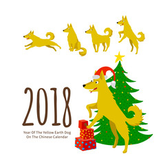 Yellow Earthy Dog symbol of 2018 in Chinese Calendar.