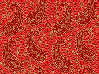 Seamless (you see two tiles) red and gold paisley pattern, print, swatch, background or wallpaper, suitable for holiday, celebrations, Christmas designs and projects