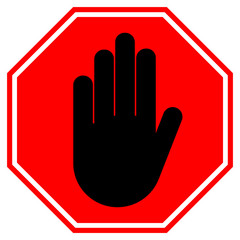 STOP HAND sign. NO ENTRY gesture in red octagon. Vector icon.