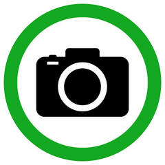CAMERA ALLOWED ZONE sign. Green circle. Vector icon.