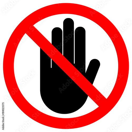 No Entry Sign Stop Palm Hand Icon In Crossed Out Red Circle Vector