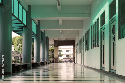 Hallway In A School Building Without People