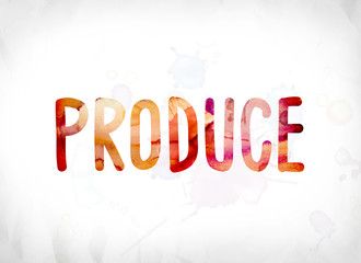 Produce Concept Painted Watercolor Word Art