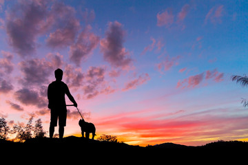 Silhouette man with dog and sunset