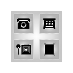 Set of telephone icons for antiquity