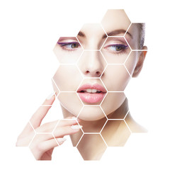 Printed roller blinds Spa Portrait of young, healthy and beautiful girl. Plastic surgery, skin lifting, spa, cosmetics and medicine concept