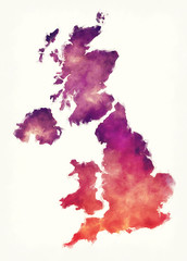 United Kingdom watercolor map in front of a white background