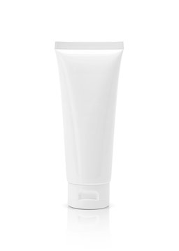 blank packaging cosmetic plastic tube isolated on white background