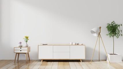shelf tv in modern empty room,minimal design, 3d rendering Wall mural