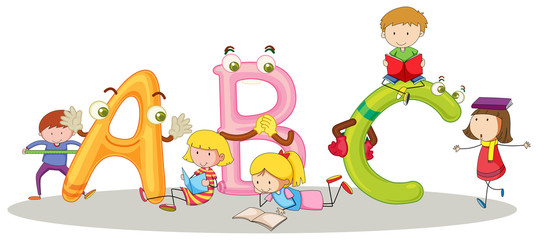 Font ABC and happy children