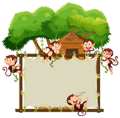Border template with cute monkeys
