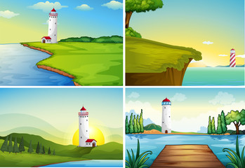 Four nature scenes with lighthouse by the ocean