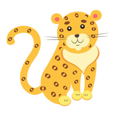 Cute Jaguar Cartoon Flat Vector Sticker or Icon
