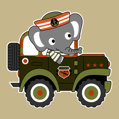 elephant the navy troop, vector cartoon illustration