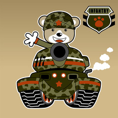 cute soldier on armored vehicle, vector cartoon