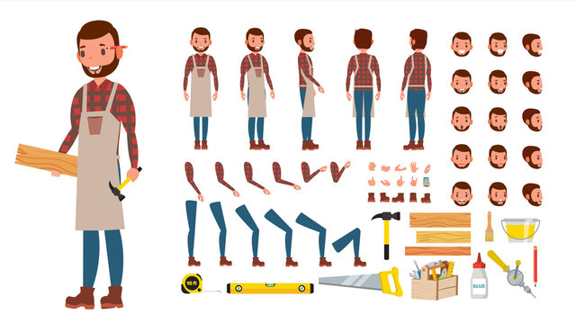 Carpenter Vector. Animated Professional Character Creation Set. Workshop, Wood Work Tool. Full Length, Front, Side, Back View, Accessories, Poses, Emotions, Gestures. Flat Cartoon Illustration