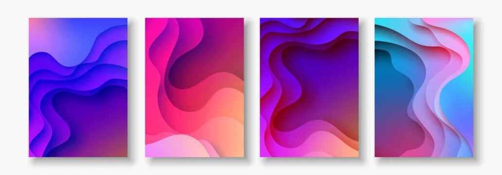 A4 abstract color 3d paper art illustration set. Contrast colors. Vector design layout for banners, presentations, flyer