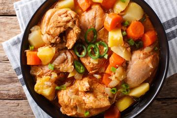 Dakdoritang - Spicy Korean Chicken Stew closeup. horizontal top view