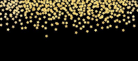 Scattered gold star shape confetti border