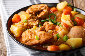 Korean food: Dakdoritang chicken stew with vegetables close-up on a plate. horizontal