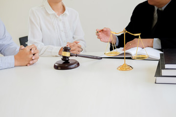 Judge working with agreement in Courtroom theme, Justice and Law concept. Concepts of law.