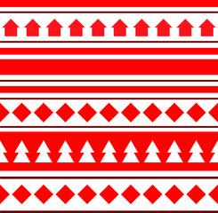 Red geometric christmas seamless pattern. Houses and firs