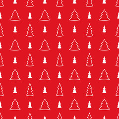 Red christmas seamless pattern. White firs on the red background
