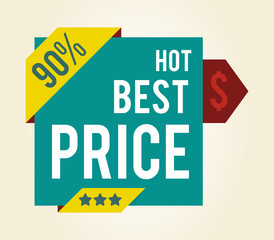 Hot Best Price 90 with Stars Vector Illustration