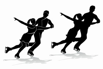 silhouette of figure skating couple , vector draw