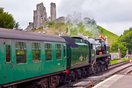 Corfe castle and steam engine, Dorset, England, UK